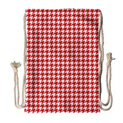 Friendly Houndstooth Pattern,red Drawstring Bag (large)