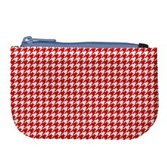 Friendly Houndstooth Pattern,red Large Coin Purse