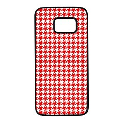 Friendly Houndstooth Pattern,red Samsung Galaxy S7 Black Seamless Case