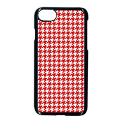 Friendly Houndstooth Pattern,red Apple Iphone 7 Seamless Case (black)