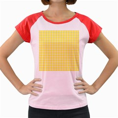 Friendly Houndstooth Pattern,yellow Women s Cap Sleeve T Shirt