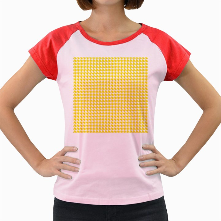 Friendly Houndstooth Pattern,yellow Women s Cap Sleeve T-Shirt