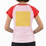 Friendly Houndstooth Pattern,yellow Women s Cap Sleeve T-Shirt Back