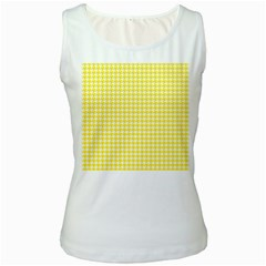 Friendly Houndstooth Pattern,yellow Women s White Tank Top