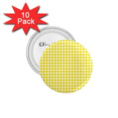 Friendly Houndstooth Pattern,yellow 1 75  Buttons (10 Pack)