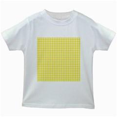 Friendly Houndstooth Pattern,yellow Kids White T Shirts