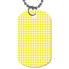 Friendly Houndstooth Pattern,yellow Dog Tag (one Side)
