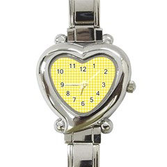 Friendly Houndstooth Pattern,yellow Heart Italian Charm Watch