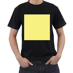 Friendly Houndstooth Pattern,yellow Men s T Shirt (black) (two Sided)