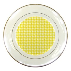 Friendly Houndstooth Pattern,yellow Porcelain Plates