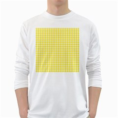 Friendly Houndstooth Pattern,yellow White Long Sleeve T Shirts
