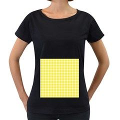 Friendly Houndstooth Pattern,yellow Women s Loose Fit T Shirt (black)