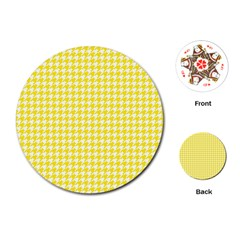 Friendly Houndstooth Pattern,yellow Playing Cards (round)