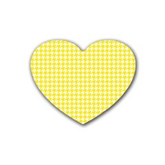 Friendly Houndstooth Pattern,yellow Heart Coaster (4 Pack)