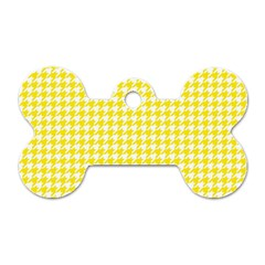 Friendly Houndstooth Pattern,yellow Dog Tag Bone (one Side)