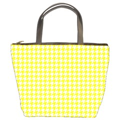 Friendly Houndstooth Pattern,yellow Bucket Bags