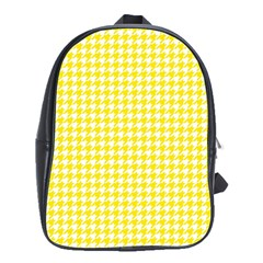 Friendly Houndstooth Pattern,yellow School Bag (large)