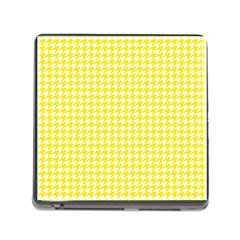 Friendly Houndstooth Pattern,yellow Memory Card Reader (square)