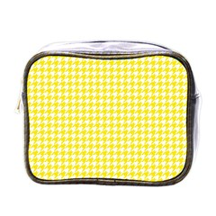 Friendly Houndstooth Pattern,yellow Mini Toiletries Bags