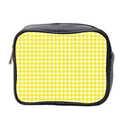 Friendly Houndstooth Pattern,yellow Mini Toiletries Bag 2 Side