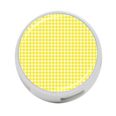 Friendly Houndstooth Pattern,yellow 4 Port Usb Hub (two Sides)