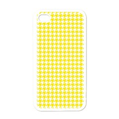 Friendly Houndstooth Pattern,yellow Apple Iphone 4 Case (white)