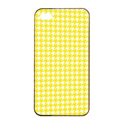 Friendly Houndstooth Pattern,yellow Apple Iphone 4/4s Seamless Case (black)
