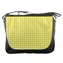 Friendly Houndstooth Pattern,yellow Messenger Bags