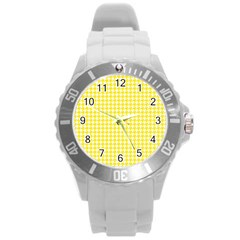 Friendly Houndstooth Pattern,yellow Round Plastic Sport Watch (l)