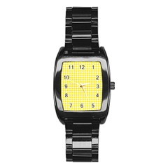 Friendly Houndstooth Pattern,yellow Stainless Steel Barrel Watch