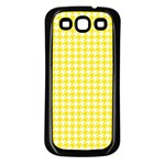 Friendly Houndstooth Pattern,yellow Samsung Galaxy S3 Back Case (Black) Front