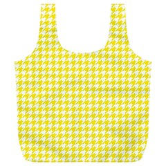 Friendly Houndstooth Pattern,yellow Full Print Recycle Bags (l)