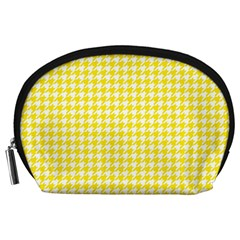 Friendly Houndstooth Pattern,yellow Accessory Pouches (large)