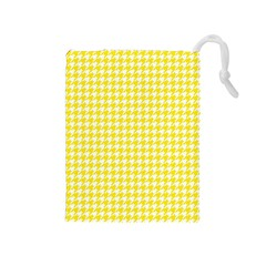 Friendly Houndstooth Pattern,yellow Drawstring Pouches (medium)
