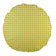 Friendly Houndstooth Pattern,yellow Large 18  Premium Flano Round Cushions