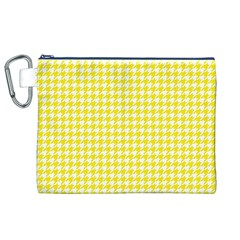 Friendly Houndstooth Pattern,yellow Canvas Cosmetic Bag (xl)