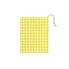 Friendly Houndstooth Pattern,yellow Drawstring Pouches (xs)