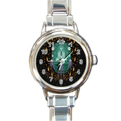Temple Of Yoga In Light Peace And Human Namaste Style Round Italian Charm Watch