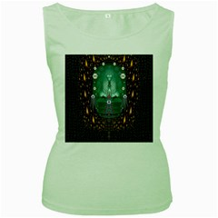 Temple Of Yoga In Light Peace And Human Namaste Style Women s Green Tank Top
