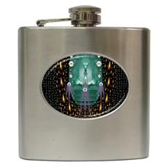 Temple Of Yoga In Light Peace And Human Namaste Style Hip Flask (6 Oz)