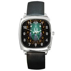 Temple Of Yoga In Light Peace And Human Namaste Style Square Metal Watch