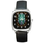Temple Of Yoga In Light Peace And Human Namaste Style Square Metal Watch Front