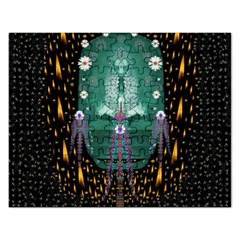 Temple Of Yoga In Light Peace And Human Namaste Style Rectangular Jigsaw Puzzl
