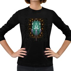 Temple Of Yoga In Light Peace And Human Namaste Style Women s Long Sleeve Dark T Shirts