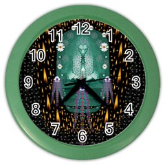 Temple Of Yoga In Light Peace And Human Namaste Style Color Wall Clocks