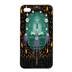 Temple Of Yoga In Light Peace And Human Namaste Style Apple Iphone 4/4s Seamless Case (black)