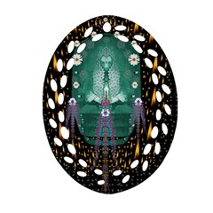 Temple Of Yoga In Light Peace And Human Namaste Style Oval Filigree Ornament (two Sides)