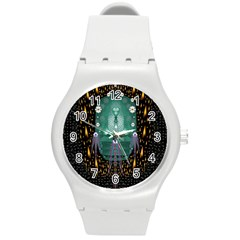 Temple Of Yoga In Light Peace And Human Namaste Style Round Plastic Sport Watch (m)