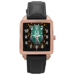 Temple Of Yoga In Light Peace And Human Namaste Style Rose Gold Leather Watch