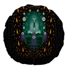 Temple Of Yoga In Light Peace And Human Namaste Style Large 18  Premium Flano Round Cushions